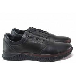 Мъжки обувки, анатомични, естествена кожа, гъвкави / ТЯ 1314 черен-бордо / MES.BG