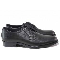 Стилни мъжки обувки, естествена кожа, анатомични, мачкана кожа, връзки, класически / ТЯ 1566 черен / MES.BG