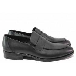 Мъжки обувки, естествена кожа, анатомични, елегантни, мокасина, класически / ТЯ 470 черен / MES.BG