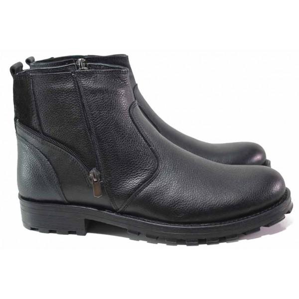 Удобни мъжки боти с топъл хастар, естествена кожа, цип / МИ 01177 черен / MES.BG