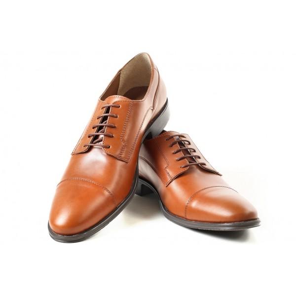 Мъжки обувки, естествена кожа, официални, изчистени, заострени / МН Dylan св.кафяв / MES.BG