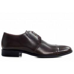 Стилни мъжки обувки, естествена кожа, български, класически / МН Eduardo т.кафяв / MES.BG