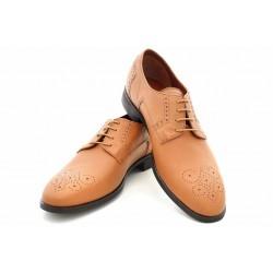 Български мъжки обувки, естествена кожа, перфорация / МН Lewis св.кафявN / MES.BG