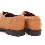 Стилни мъжки обувки, български, естествена кожа с декоративни перфорации / МН Lewis св.кафяв / MES.BG