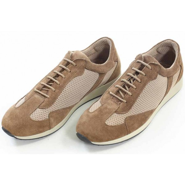 Мъжки обувки, спортни, естествен велур, текстил, български, дишащи / МН Tom бежов / MES.BG