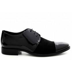 Елегантни мъжки обувки, естествени лак и велур, български, олекотени / МН Pierre черен / MES.BG