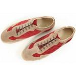 Мъжки обувки, естествен велур, връзки, български, спортни / МН Gianni бежов-червен / MES.BG