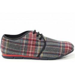 Мъжки спортни обувки, връзки, леки, атрактивно каре / МН Indy сив каре / MES.BG
