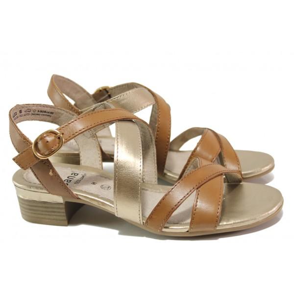 Анатомични дамски сандали от естествена кожа Jana 8-28256-24 коняк | Немски сандали на ток | MES.BG