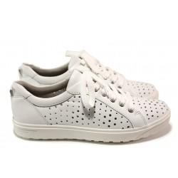 Ортопедични дамски спортни обувки от естествена кожа Jana 8-23615-24 бял | Немски равни обувки | MES.BG
