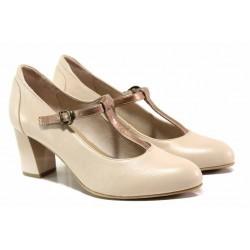 Немски елегантни дамски обувки; естествена кожа; каишка при свода / Jana 8-24492-24 бежов-розов / MES.BG