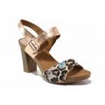 Леки, удобни сандали на немския производител CAPRICE; естествена кожа с животински принт / Caprice 9-28320-24 розов леопард / MES.BG
