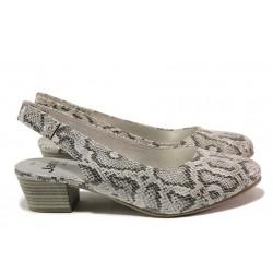 Немски обувки с отворена пета; за H крак; среден ток; анатомично ходило / Jana 8-29561-24 сив змия / MES.BG
