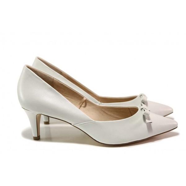 Елегантни немски обувки; естествена кожа, плавна извивка на ходилото / Caprice 9-22407-24 бял / MES.BG