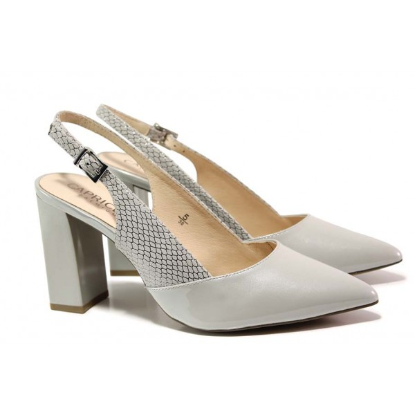Елегантни обувки Caprice с отворена пета; естествена кожа-лак; стелка от естествена кожа / Caprice 9-29604-24 св.сив лак / MES.BG