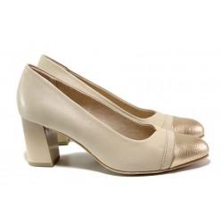 Немски дамски обувки на висок ток; естествена кожа; леко, еластично ходило / Jana 8-22492-24 бежов / MES.BG