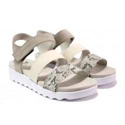 Леки дамски сандали, платформа, равни, анатомични, еко материали / Jana 8-28264-24 сив-змия / MES.BG
