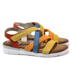 Равни дамски сандали, анатомични, олекотени, естествена кожа / Jana 8-28205-24 жълт-син-оранж RELAX / MES.BG