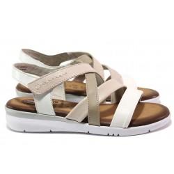 Анатомични дамски сандали, леки, естествена кожа, анатомични / Jana 8-28205-24 бял-бежов RELAX / MES.BG
