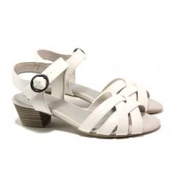 Комфортни дамски сандали, еко-кожа, гъвкаво ходило, катарама / Jana 8-28268-24 бял / MES.BG