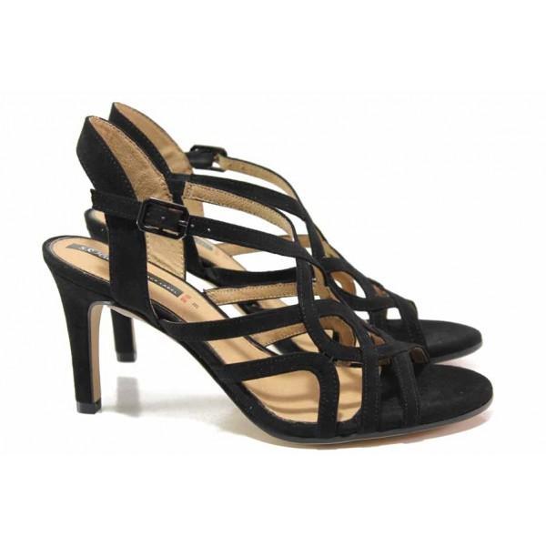Велурени дамски сандали; ''мемори'' пяна; удобно закопчаване - катарама / S.Oliver 5-28321-24 черен / MES.BG