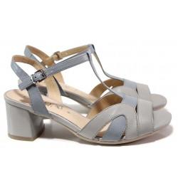 Немски дамски сандали, ширина H, естествена кожа, еластично ходило / Caprice 9-28309-24 син-сив / MES.BG