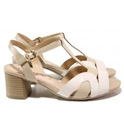 Стилни дамски сандали, естествена кожа, ток, гъвкаво ходило, ширина H / Caprice 9-28309-24 бежов / MES.BG