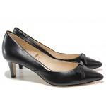 Стилни дамски обувки, естествена кожа, анатомична стелка, тънък ток / Caprice 9-22407-24 черен / MES.BG