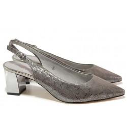 Стилни немски обувки; огледален ток, естествена кожа, отворена пета / Caprice 9-29605-24 сив / MES.BG