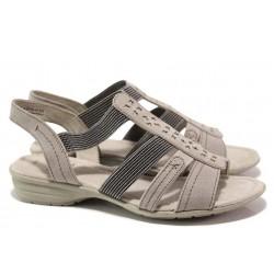Анатомични немски сандали с ластици и гъвкаво ходило, подходящи за широк крак / Jana 8-28163-26 бежов / MES.BG