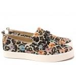 Равни немски обувки, еластично ходило, естествена кожа с цветен принт, ластик при свода / Caprice 9-24210-24 леопардови цветя / MES.BG