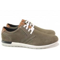 Летни мъжки обувки, естествена кожа, леки, дишащи, ANTISHOKK ходило / S.Oliver 5-13644-24 зелен / MES.BG