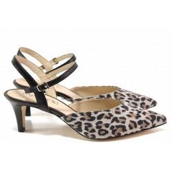 Елегантни дамски обувки, естествена кожа, тънък ток, леопардов десен / Caprice 9-29603-24 сив-черен / MES.BG