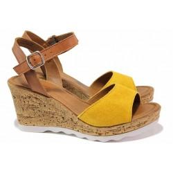 Дамски сандали от S.Oliver на платформа, естествени материали - лицева част, изключително леко, удобно ходило / S.Oliver 5-28325-24 жълт / MES.BG