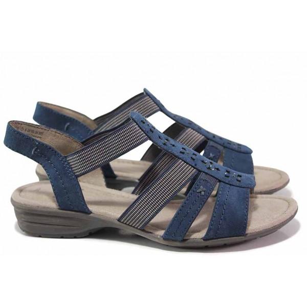 Дамски сандали Jana, гъвкаво ходило, плавна извивка, пришит ластик / Jana 8-28163-24 син / MES.BG