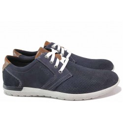 Мъжки обувки на S.Oliver, естествена кожа с перфорации, олекотени, ANTISHOKK ходило, вадеща се стелка / S.Oliver 5-13644-24 син / MES.BG