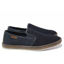 Немски мъжки обувки за лятото; закопчаване - ластик; ортопедично ANTISTRESS ходило / Rieker B5265-14 син / MES.BG
