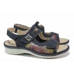 Немски равни сандали; ортопедично ходило; велкро лепенки за регулиране на широчината; стелки от естествена кожа / Remonte D7647-14 т.син / MES.BG