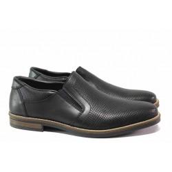 Немски мъжки обувки от естествена кожа; закопчаване - ластик; ортопедично ANTISTRESS ходило / Rieker 13571-00 черен / MES.BG