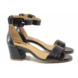 Немски дамски сандали на среден ток, висококачествена изработка, ''мемори'' пяна / S.Oliver 5-28338-34 черен / MES.BG