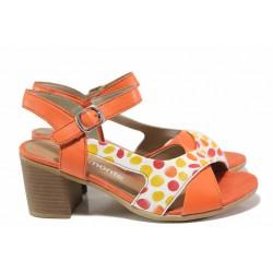 Немски дамски сандали в ярки цветове, естествена кожа, велкро лепенки / Remonte D2151-34 червен / MES.BG