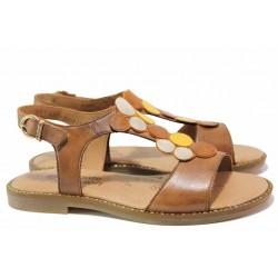 Немски анатомични сандали с велкро закопчаване, изцяло от естествена кожа, велкро лепенки / Remonte D3655-24 кафяв-жълт / MES.BG