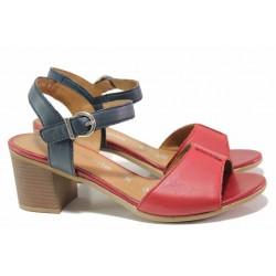 Немски дамски сандали от естествена кожа, велкро лепенки, анатомични / Remonte D2152-33 червен-син / MES.BG
