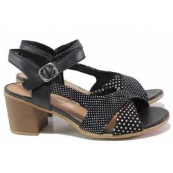 Немски дамски сандали от естествена кожа, велкро лепенки, анатомични / Remonte D2151-02 черен точки / MES.BG