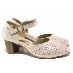 Анатомични немски обувки с велкро закопчаване, изцяло от естествена кожа, велкро лепенки / Remonte D0829-60 розов / MES.BG