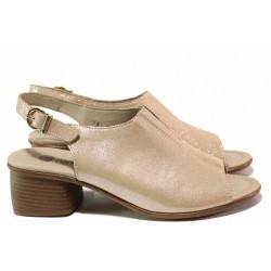 Немски анатомични сандали, среден ток, изцяло от естествена кожа, велкро лепенки / Remonte R8753-31 розов / MES.BG