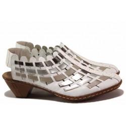 Немски дамски обувки с отворена пета, естествена кожа, закопчаване-велкро и ластик / Rieker 46778-81 бял ANTISTRES / MES.BG