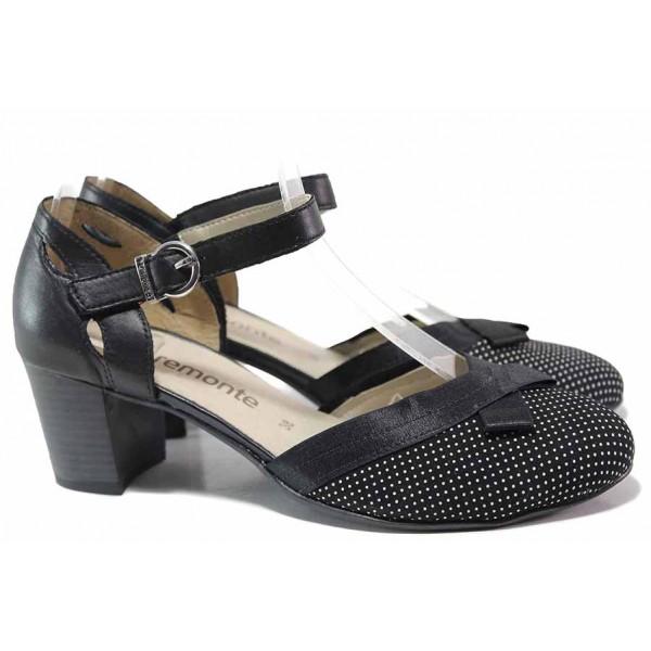 Немски обувки, анатомични, естествена кожа, летни, среден ток, катарама / Remonte D0808-02 черен точки / MES.BG