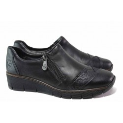 Комфортни немски обувки от естествена кожа, шито ходило с ANTISTRESS технология, цип и ластик / Rieker 53761-00 черен / MES.BG