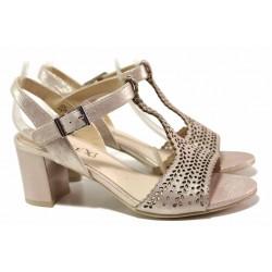 Стилни дамски сандали, естествена кожа, среден ток, деликатна перфорация, леки / Caprice 9-28301-24 розов металик / MES.BG